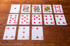 Hearts Set of playing cards Stock Image