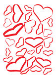 Hearts Set. Red Hearts Set on a White Page, They Are Different Sizes and Tilts stock illustration