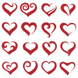 Hearts. Set of sixteen icons of hearts Royalty Free Stock Images