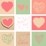 Hearts set for Valentines day and your greeting card Stock Image