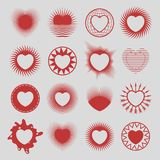 16 hearts. Set of various design hearts symbols, icons and emblems isolated on white background. Festive collection for wedding, Saint Valentines Day and web royalty free illustration