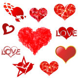 Hearts set on white background. Royalty Free Stock Photo