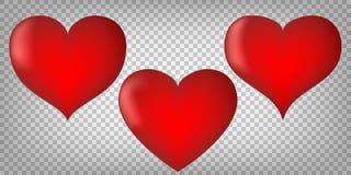 Hearts with shading on transparent background. Emotion symbols. Stock Photos