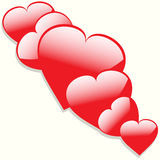 Hearts with shadow background Royalty Free Stock Image