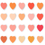 Hearts with shadows in different colors, vector. Background vector illustration Vector Illustration