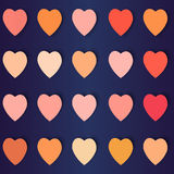 Hearts with shadows in different colors, vector background. Vector illustration Stock Illustration