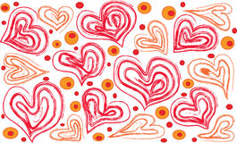 Hearts and shallow circles on a white background. Red and orange hearts and shallow circles on a white background stock illustration