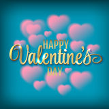 Hearts shaped clouds in the blue sky. Gold lettering. Valentines day illustration. Royalty Free Stock Photo