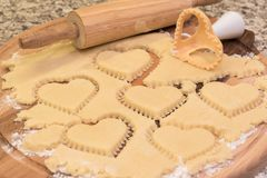 Hearts Shaped Cookie Cutter On Raw Cookie Dough. Closeup. Stock Images