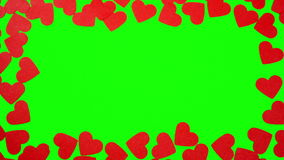 Hearts shaped on the green screen. You can replace the green screen on any of your image stock video footage