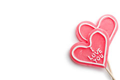 Hearts shaped lollipop Royalty Free Stock Photography