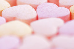 Hearts shaped Sugar Pills. Royalty Free Stock Photography