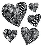 Hearts shapes, hand drawn ornaments. Stock Photo