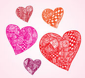 Hearts shapes, hand drawn ornaments. Royalty Free Stock Images