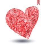 Hearts shapes, hand drawn ornaments. Stock Photography