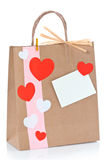 Hearts on shopping bag Stock Photos