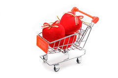 Hearts in shopping cart  Stock Photography