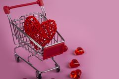 Hearts in the shopping cart stock photography