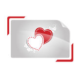 Hearts in shutter photo frame Royalty Free Stock Photography