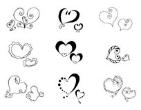 Hearts silhouette Stock Images