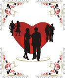Hearts and silhouettes of youth Royalty Free Stock Image