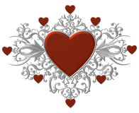 Hearts with silver flourishes Royalty Free Stock Image
