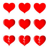 Hearts (simple, shaded and broken) in 3 different shapes. Stock Photography