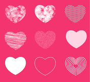 Hearts simple, shaded and broken in 9 different shapes. Vector illustration. hand drawn style Stock Photography
