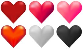 Hearts in six different colors. Illustration Vector Illustration