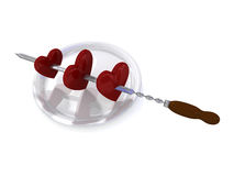 Hearts and skewer Royalty Free Stock Images