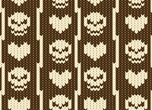 Hearts and skull knitted pattern Royalty Free Stock Image