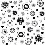 Hearts and skulls decorative seamless pattern. Hearts and skulls decorative black and white seamless pattern Stock Photography