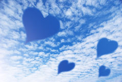 Hearts in sky Royalty Free Stock Photos