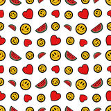 Hearts Smile and Watermelons Seamless Pattern. Fashion Background in Retro Comic Style. Vector illustration Stock Images