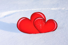 Hearts snow Stock Photos