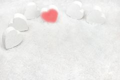 Hearts in the snow Royalty Free Stock Photography