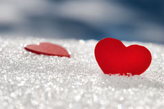 Hearts on snow Stock Photography