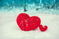 Hearts on the snow Royalty Free Stock Images