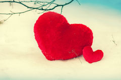 Hearts in the snow Stock Photography