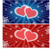 Hearts and Snowflakes Stock Images