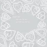 Hearts of snowflakes frame Stock Photo