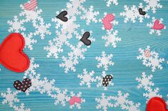 Hearts and snowflakes. stock photos