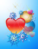 Hearts and snowflakes. Loving hearts and snowflakes festive illustration Stock Image