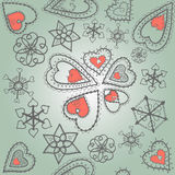 Hearts of snowflakes pattern Royalty Free Stock Images