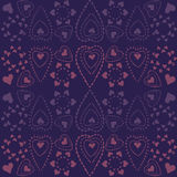Hearts of snowflakes pattern Royalty Free Stock Photography