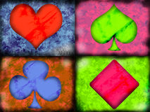 Hearts Spades Clubs Diamonds. Depiction of the four suits of playing cards in a grunge style Royalty Free Stock Images