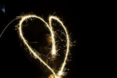 Hearts of sparkler Royalty Free Stock Photos