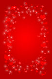 Hearts and Sparkles. Red gradient background with hearts and sparkles vector illustration