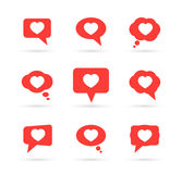 Hearts in speech bubbles Stock Images