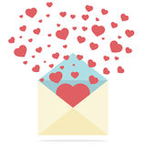 Hearts Spread Outside Mail's Envelope Stock Photos